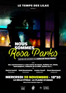 Soirée de soutien au Collectif Rosa Parks - mercredi 28 novembre - 18h30 @ La Belle Étoile | Saint-Denis | Île-de-France | France