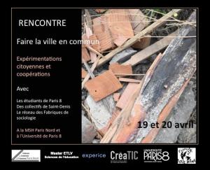 """Rencontre """"Faire la ville en commun"""" - vendredi 19 avril - 19h @ La Belle Étoile"""