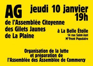 AG de l'Assemblée Citoyenne des Gilets Jaunes de La Plaine - jeudi 10 janvier - 19h @ La Belle Étoile