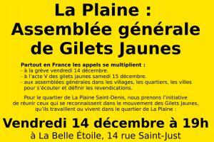 La Plaine Saint-Denis : Assemblée Générale de Gilets Jaunes - vendredi 14 décembre - 19h @ La Belle Étoile