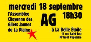 AG de l'Assemblée Citoyenne des Gilets Jaunes de La Plaine - mercredi 21 septembre - 18h30 @ La Belle Étoile