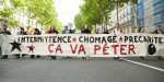 FRANCE, Paris : People take part in a demonstration called by artists and technicians working in the entertainment industry (intermittents du spectacle) and by other short-term contract workers on May 14, 2014 in Paris. Several hundred people took part in the demonstration against the MEDEF national employers association's proposal to reform the current unemployment benefits scheme for French artists and technicians working in the entertainment industry on short-term contracts. CITIZENSIDE/VALENTINA CAMOZZA
