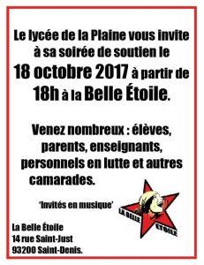 Soirée de soutien aux profs, élèves et parents du Lycée de La Plaine en lutte - mercredi 18 octobre - 18h @ La Belle Étoile   Saint-Denis   Île-de-France   France